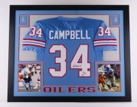 "Earl Campbell Signed Oilers 35x43 Custom Framed Jersey Inscribed ""HOF 91"" (JSA COA) at PristineAuction.com"