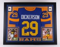 """Eric Dickerson Signed Rams 35x43 Custom Framed Jersey Inscribed """"HOF 99"""" (JSA COA)"""