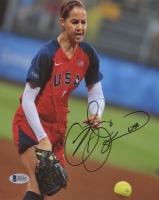 "Cat Osterman Signed Team USA 8x10 Photo Inscribed ""USA"" (Beckett COA)"