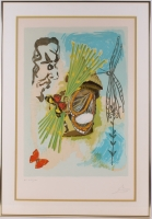 """Salvador Dali Signed """"The Ivanhoe Suite : The Overseer"""" 23x33.5 Custom Framed Lithograph HC LIX/LXV"""