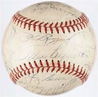 1954 Yankees OAL Baseball Team-Signed by (26) with Mickey Mantle, Yogi Berra, Whitey Ford, Phil Rizzuto, Enos Slaughter, Joe Collins, Allie Reynolds, Ralph Houk (PSA LOA)