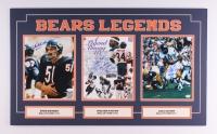 "Walter Payton, Dick Butkus & Gale Sayers Signed & Inscribed ""Bears Legends"" 18x30 Custom Matted Photo Display Inscribed ""Sweetness"" & ""16,726"" (JSA COA & Payton COA)"