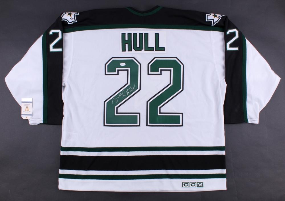 b8ae25c0d Brett Hull Signed Stars Jersey Inscribed