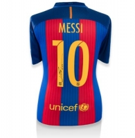 "Lionel ""Leo"" Messi Signed Barcelona Authentic Soccer Jersey (Messi COA)"