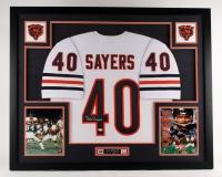 "Gale Sayers Signed Bears 42.5""x 34.5"" Custom Framed Jersey Display (JSA COA)"