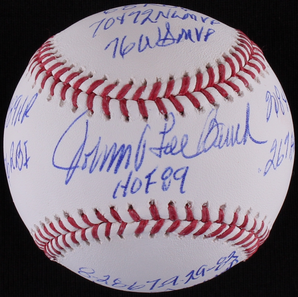 Exceptional Johnny Bench Autographed Baseball Part - 12: Johnny Bench Signed OML Baseball With (10) Career Inscriptions (MLB  Hologram) At