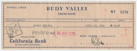 Rudy Vallee Signed Vintage Personal Bank Check (JSA COA)