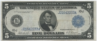 1914 $5 Five Dollars Federal Reserve Blue Seal Large Size Currency Bank Note Bill (Fr. 882)