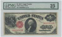 1917 $1 One Dollar Sawhorse Red Seal U.S. Legal Tender Currency Bank Note Bill (Large Note) (PMG 25)