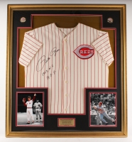 "Pete Rose Signed Reds 35"" x 39"" Custom Framed Rookie of the Year Jersey Display Inscribed ""1963 N.L"" & ""R.O.Y"" (JSA COA)"
