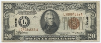 1934-A $20 Twenty Dollars Hawaii Brown Seal Federal Reserve Bank Note Bill (Fr. 2305)
