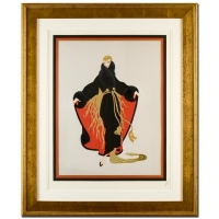 """Erte Signed """"Faubourg St. Honore"""" Limited Edition 38x46 Custom Framed Embossed Serigraph #1/1"""