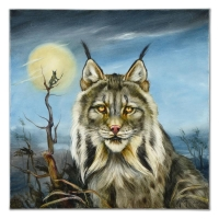 "Martin Katon Signed ""Lynx Couple"" Limited Edition 24x24 Original Oil Painting on Stretched Canvas #1/1 at PristineAuction.com"
