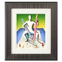 """Mark Kostabi Signed """"Sharpen Your Wits"""" Limited Edition 18x20 Custom Framed Original Oil Painting on Canvas #1/1"""