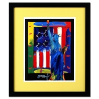 """Peter Max Signed """"Full Liberty with Flag"""" Limited Edition 25x29 Custom Framed Acrylic Mixed Media #1/1"""