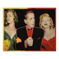 """Ringo Signed """"Marilyn, Bogart, and Bacall"""" Limited Edition 13x16 Mixed Media Painting on Canvas #1/1"""