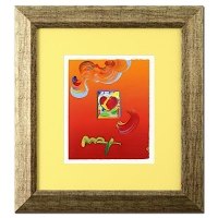 "Peter Max ""Heart"" Signed 8.5"" x 11"" Original Acrylic Mixed Media Painting 1/1 (Custom Framed to 21"" x 23"") (Max LOA)"
