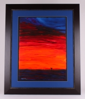 """Wyland """"Sunset with Whale Tail"""" Signed Original 22.5"""" x 30""""  Watercolor on Deckle-Edge Paper (Custom Framed to 36.5"""" x 44"""")"""