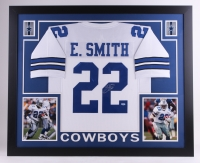 "Emmitt Smith Signed Cowboys 35"" x 43"" Custom Framed Jersey (PSA COA)"