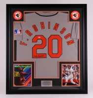Frank Robinson Signed Orioles 35x39 Custom Framed Jersey Display (PSA COA)