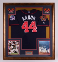 Hank Aaron Signed Braves 35x39 Custom Framed Jersey Display (JSA)