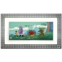 "Chuck Jones Signed ""Peter and the Wolf"" 19x33 Custom Framed Hand Painted Animation Cel from a Sold Out Edition"