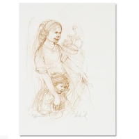 "Edna HIbel Signed ""Small Breton Woman with Child"" Limited Edition 10x15 Lithograph"