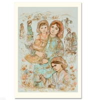 """Edna Hibel Signed """"Family in the Field"""" Limited Edition 25x36 Lithograph at PristineAuction.com"""