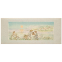 """Edna Hibel Signed """"Sunset"""" Limited Edition 14x32 Lithograph at PristineAuction.com"""