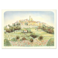 """Rolf Rafflewski Signed """"St. Paul De Vence """" Limited Edition 21x29 Lithograph at PristineAuction.com"""