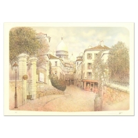 """Rolf Rafflewski Signed """"Montmart"""" Limited Edition 21x29 Lithograph at PristineAuction.com"""