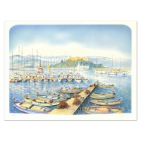 "Rolf Rafflewski Signed ""Docks"" Limited Edition 22x30 Lithograph at PristineAuction.com"
