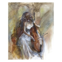 "Lena Sotskova Signed ""Sonata"" Artist Embellished Limited Edition 14x18 Giclee on Canvas"
