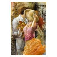 "Lena Sotskova Signed ""Autumn Leaves"" Artist Embellished Limited Edition 26x40 Giclee on Canvas"