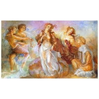 "Lena Sotskova Signed ""Birth of Venus"" Artist Embellished Limited Edition 24x40 Giclee on Canvas"