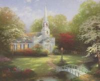 "Thomas Kinkade ""Hometown Chapel"" 8"" x 9.5"" Fine Art Print"