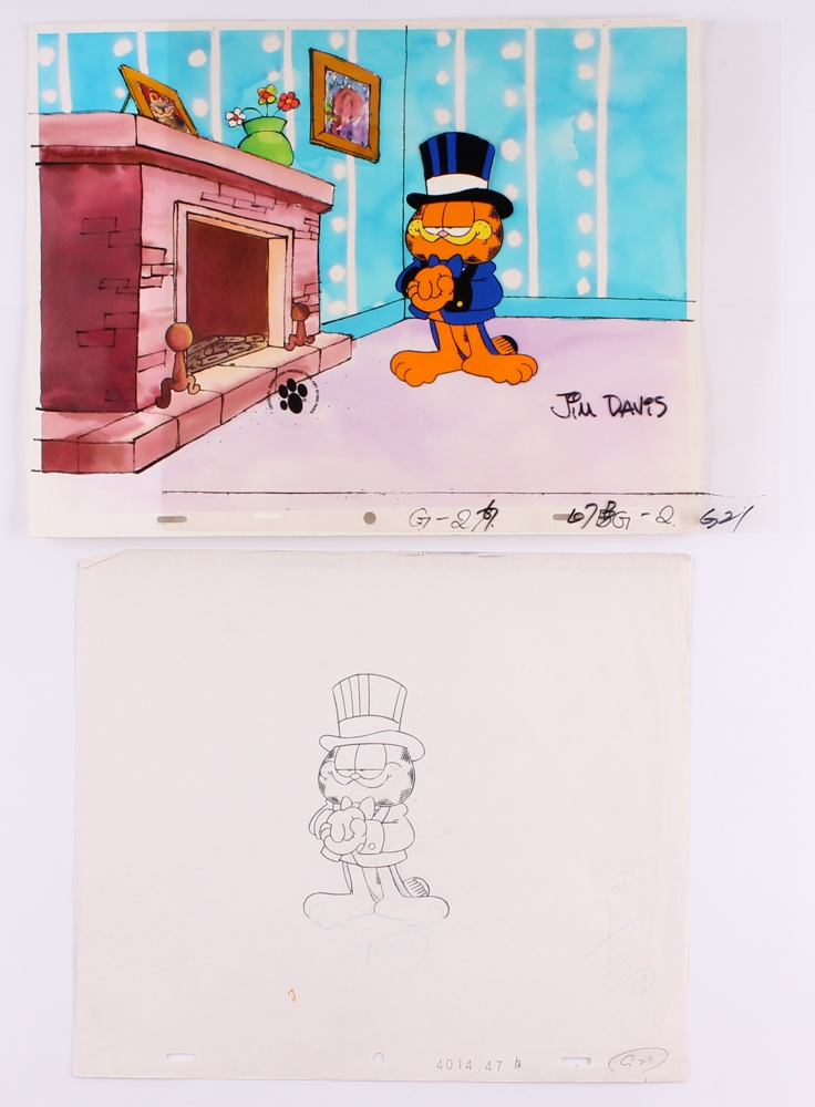 Online sports memorabilia auction pristine auction jim davis signed garfield sporting a top hat and tails in front of the fireplace teraionfo