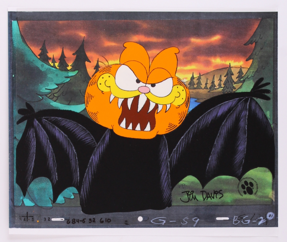 Jim Davis Signed Garfield Dressed As A Vampire 12 5 X 10 5 Original Hand Painted Animation Production Cel Pa Loa Pristine Auction