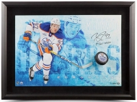 """Connor McDavid Signed Limited Edition Oilers """"Commanding Breakthrough"""" 16"""" x 24"""" Custom Framed Hockey Puck Display Inscribed """"1st Goal 10/13/15"""" #1/25 (UDA COA)"""