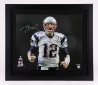 "Tom Brady Signed Patriots Limited Edition ""Super Bowl 49 Touch Down Scream"" 20"" x 24"" Custom Framed Photo #12/12 (Steiner COA & Tristar Hologram)"