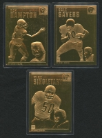 Lot of (3) 1996-03 Danbury Mint 22kt Gold Chicago Bears Football Cards with #15 Gale Sayers, #21 Dan Hampton, #33 Mike Singletary
