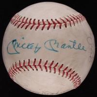 1977 Yankees World Series Champions OAL Baseball Team-Signed By (5) with Mickey Mantle, Reggie Jackson, Mickey Rivers, Ellie Hendricks & Roy White (JSA ALOA)