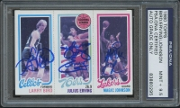 Larry Bird, Julius Erving, & Magic Johnson Signed 1980-81 Topps #34 (PSA Encapsulated & Autographs Graded 9.5) at PristineAuction.com
