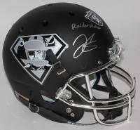 """Derek Carr Signed Raiders Custom Matte Black Full-Size Helmet Inscribed """"Raider Nation"""" (PSA COA)"""