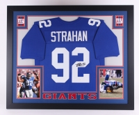 "Michael Strahan Signed Giants 35"" x 43"" Custom Framed Jersey (JSA COA) at PristineAuction.com"