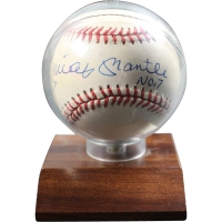 """Mickey Mantle Signed OAL Baseball With High Quality Display Case Inscribed """"No 7"""" (JSA)"""