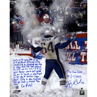 """Tedy Bruschi Signed LE """"Snow Game and Super Bowl"""" 16x20 Story Photo with Handwritten Story Inscription (Steiner COA)"""