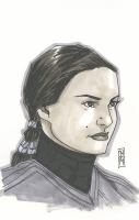 "Tom Hodges - Padme Amidala ""Star Wars"" Signed ORIGINAL 5.5"" x 8.5"" Color Drawing on Paper (1/1)"