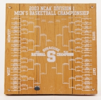 """2003 NCAA Division 12"""" x 12"""" Engraved Basketball Syracuse Game-Used Final Floor (Steiner LOA) at PristineAuction.com"""