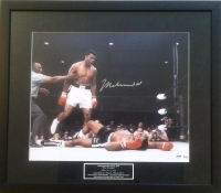 "Muhammad Ali ""Over Liston"" Signed 23x27 Framed/Suede Matted 16x20 Photo PSA 10 Autograph (PSA LOA)"